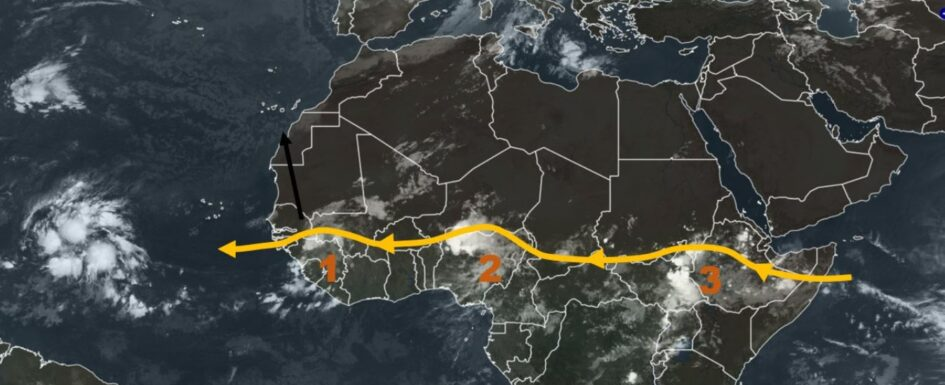African tropical wave could turn north and bring rain to Canaries Ondastropicales-945x385